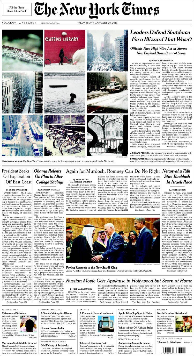 Portada The New York Times