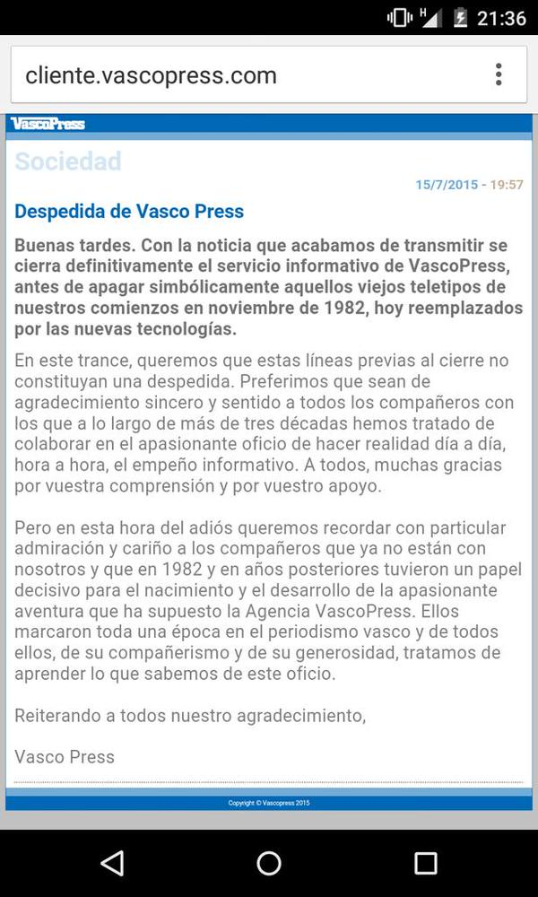 Último teletipo de VascoPress