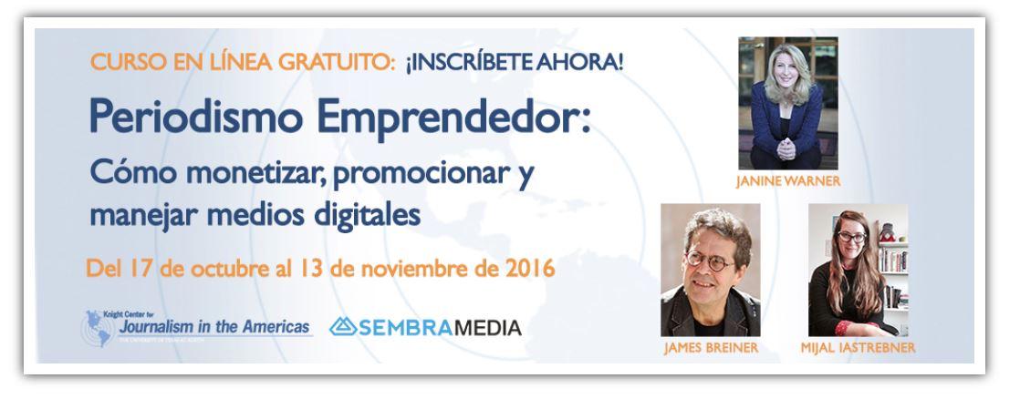 Janine Warner, James Breiner y Mijal Iastrebner imparten un curso de periodismo emprendedor
