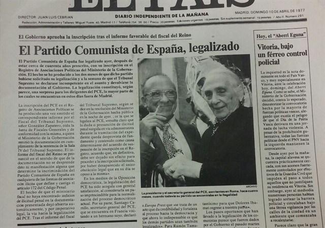 La legalización del PCE: una primicia de Europa Press
